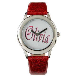 Olivia, Name, Logo, Girls Red Glitter Watch. Watch