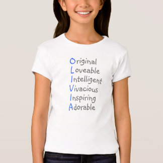 Olivia - Personalized Blue Acrostic with Virtues T-Shirt