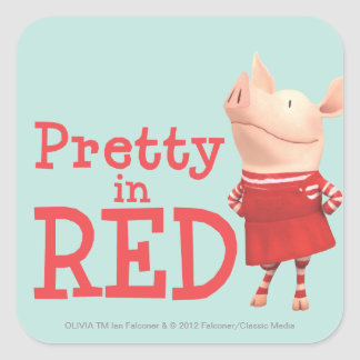 Olivia - Pretty in Red Square Sticker
