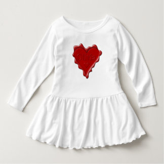Olivia. Red heart wax seal with name Olivia Dress