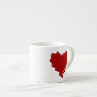 Olivia. Red heart wax seal with name Olivia Espresso Cup