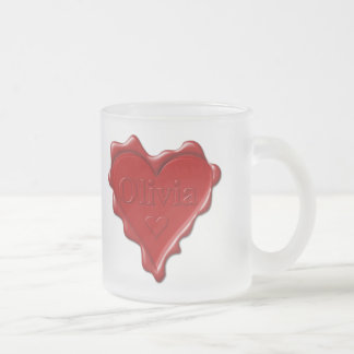 Olivia. Red heart wax seal with name Olivia Frosted Glass Coffee Mug