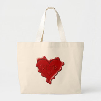 Olivia. Red heart wax seal with name Olivia Large Tote Bag
