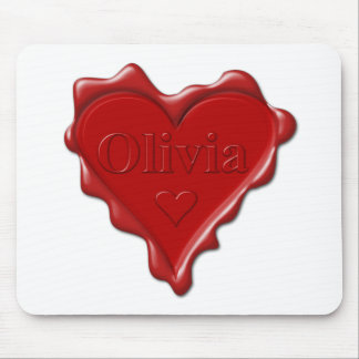 Olivia. Red heart wax seal with name Olivia Mouse Pad