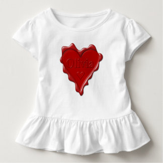 Olivia. Red heart wax seal with name Olivia Toddler T-shirt