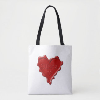 Olivia. Red heart wax seal with name Olivia Tote Bag