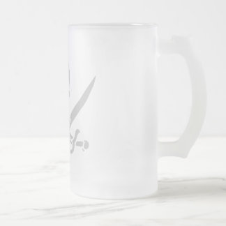 Ølkrus, grå frosted glass beer mug