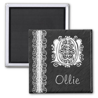 Ollie O Monogram White Lace on Black Magnet