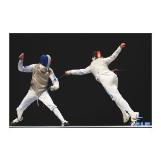 Olympic Fencing Lunge and Parry Gallery Wrap Canvas