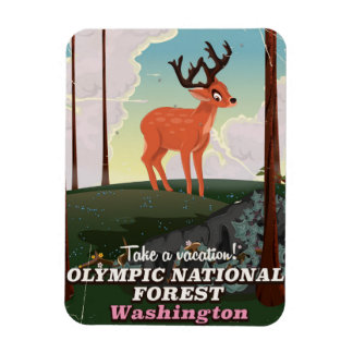 Olympic National Forest USA travel poster Rectangular Photo Magnet