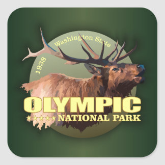 Olympic National Park (Elk) WT Square Sticker