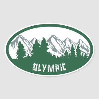 Olympic Natl Park Panorama Oval Sticker