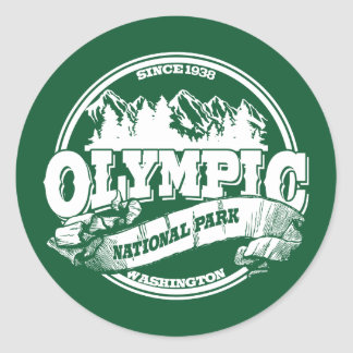Olympic Old Circle Green Classic Round Sticker