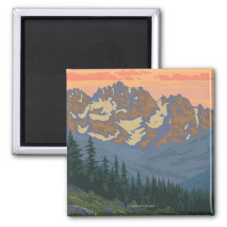 Olympic Peninsula, WashingtonSpring Flowers Square Magnet