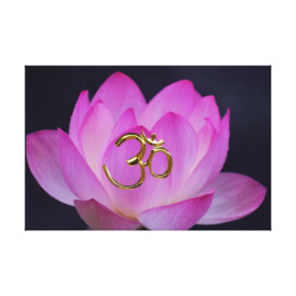 OM and the lotus flower Stretched Canvas Print