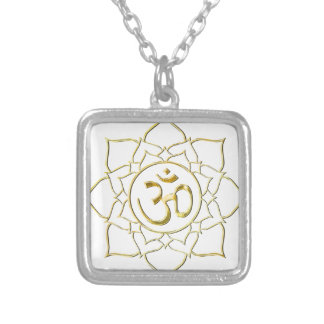 OM AUM ॐ Lotus Silver Plated Necklace