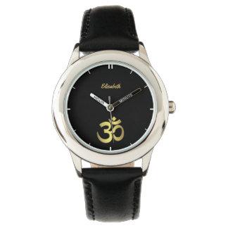 Om ( Aum ) Namaste yoga symbol name black Watches