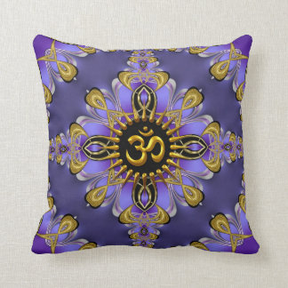Om (Aum) Purple Gold Pretty Cushion / Pillow
