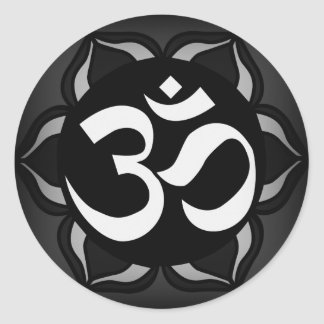 Om Black & White Peace Symbol Classic Round Sticker