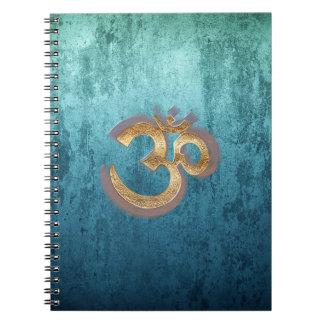 OM blue brass gold damask Asia Yoga Spiritualität Notebook