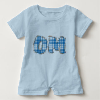 Om - Blue Plaid - Baby Yoga Clothes Baby Romper