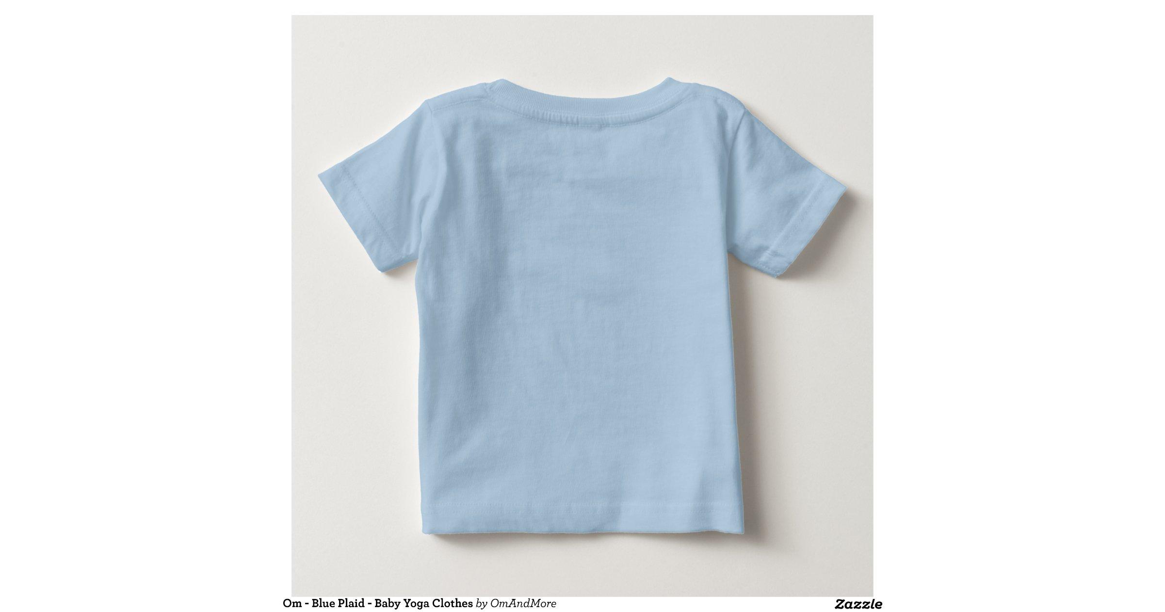 Om Blue Plaid Baby Yoga Clothes Tee Shirt