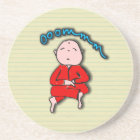 Om Boy in Red Meditation Coaster