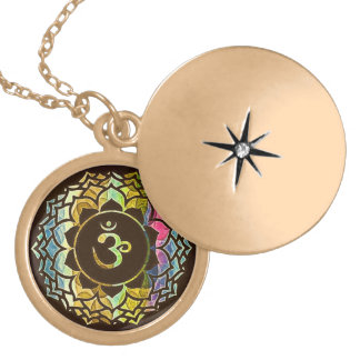 Om Flower (Dark) Gold Plated Necklace