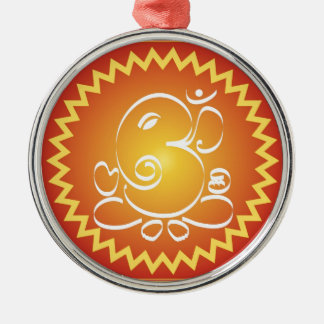 Om Ganesha with yellow star Metal Ornament