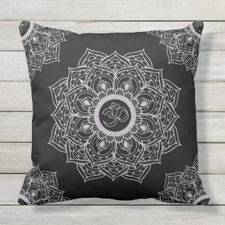 Om Hindu sacred sound symbol Mandala Throw Pillow
