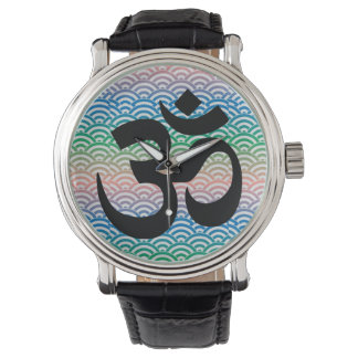 Om in a sea of colorful waves watches