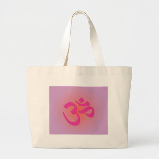 Om, in pink and orange canvas bags