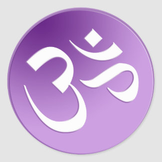 Om, in Purple and White Classic Round Sticker