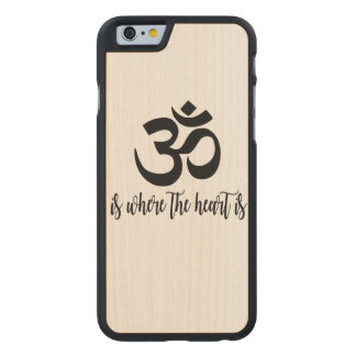 Om Is Where The Heart Is Cursive Wood iPhone Case