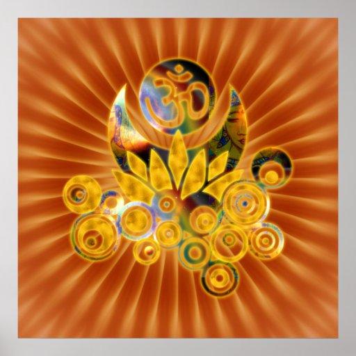 Om Lotus   dark orange flower Poster