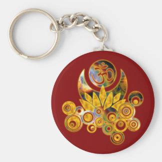 Om Lotus | dark red Basic Round Button Keychain
