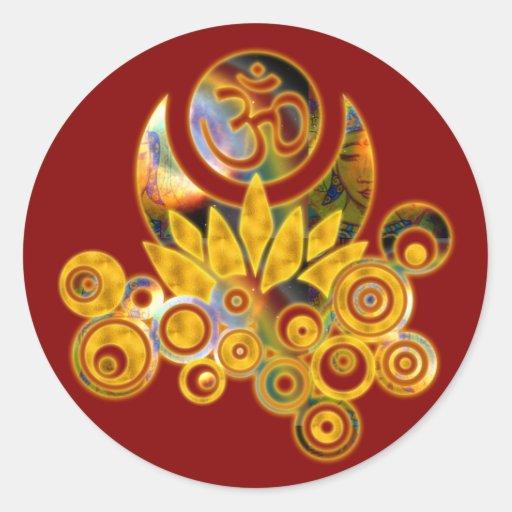 Om Lotus | dark red Round Sticker