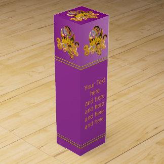 OM LOTUS Design + your Text Wine Bottle Box