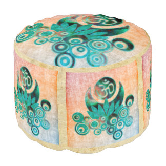 OM LOTUS ENERY batic style + your ideas Round Pouf