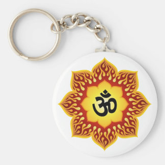 Om Lotus Fire Basic Round Button Keychain