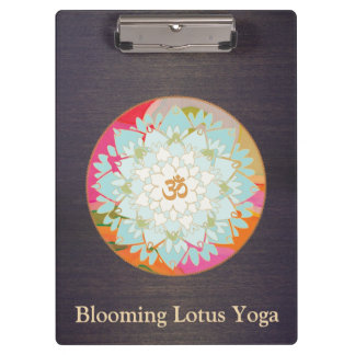 Om Lotus Floral Mandala Wood Clipboard