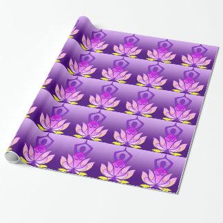 Om Lotus Flower Yoga Pose on Purple Gradient