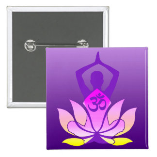 Om Lotus Flower Yoga Pose on Purple Gradient 2 Inch Square Button