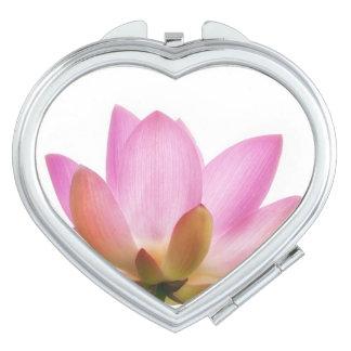 Om Lotus Pink Flower Petals Compact Mirror