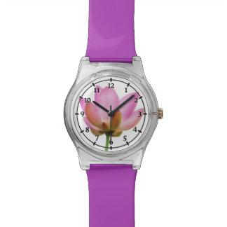 Om Lotus Pink Flower Petals Wrist Watches