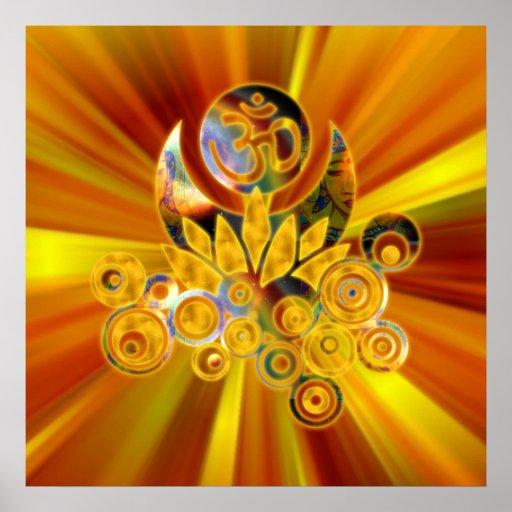 Om Lotus   yellow orange zoom Print