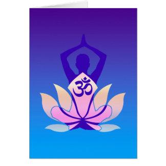 Om Lotus Yoga Pose Purple Hue Card