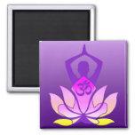 Om Lotus Yoga Pose Square Magnet