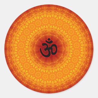 Om Mandala Design Round Sticker