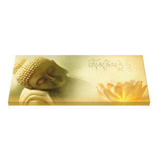 Om mani padme hum-Buddha with Lotus Canvas Print